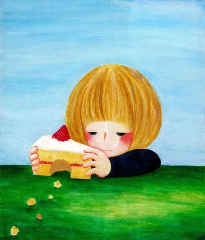 enfant curiosité avec un gâteau