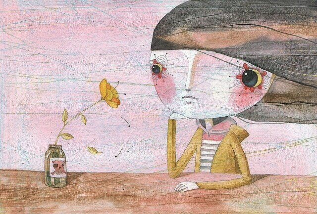 Fille-triste-au-miroir-qui-tient-une-fleur