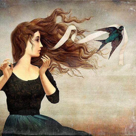 femme-oiseau-cheveux