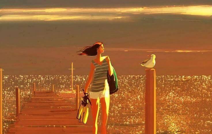 femme-se-promenant-sur-le-pont