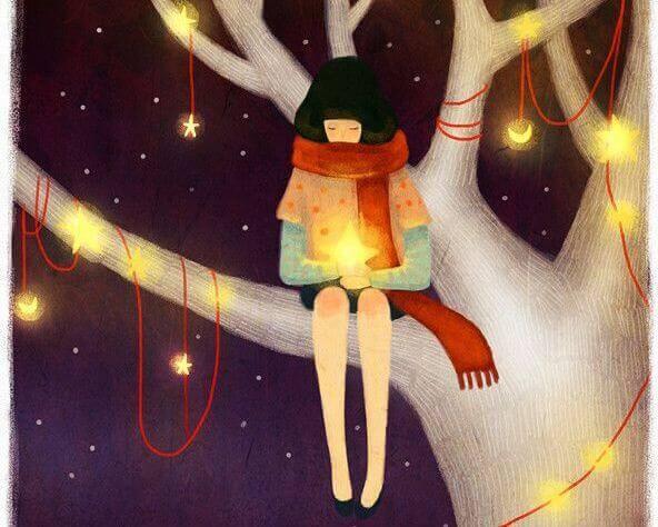 fille-sur-arbre-avec-etoiles