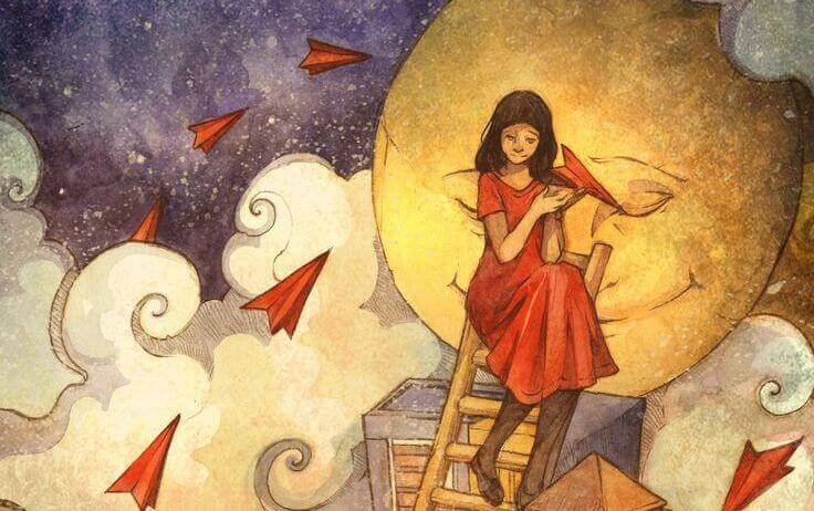mujer-de-rojo-subida-a-una-escalera