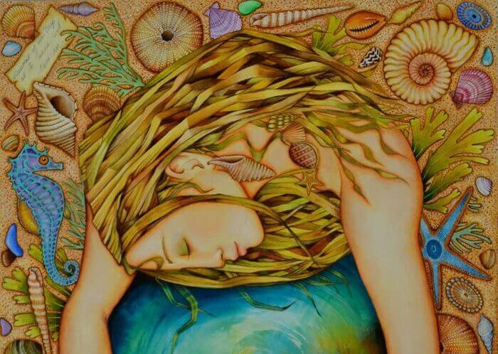 Femme-agrippee-a-un-globe-terrestre