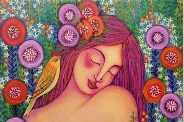 Femme-avec-un-oiseau-sur-ses-cheveux