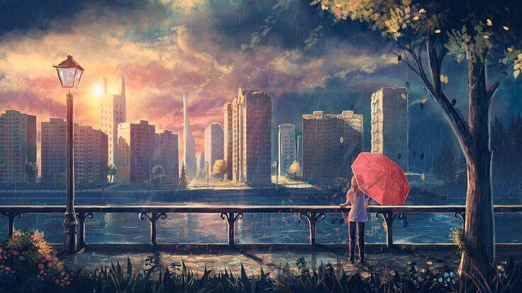 Femme-parapluie-rouge-au-parc