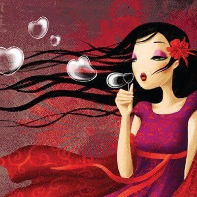 Mujer-con-burbujas-de-corazon