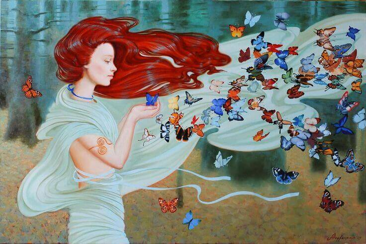 Mujer-con-muchas-mariposas
