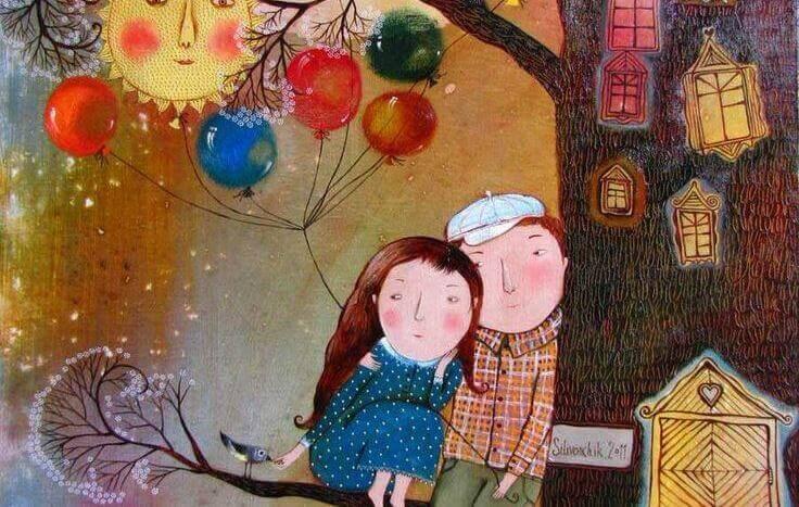 couple-assis-sur-un-arbre