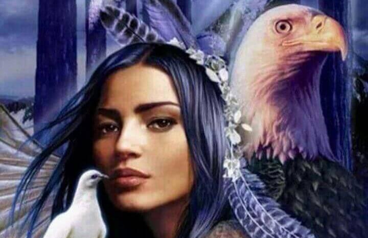 mujer-nativa-americana-con-aguila