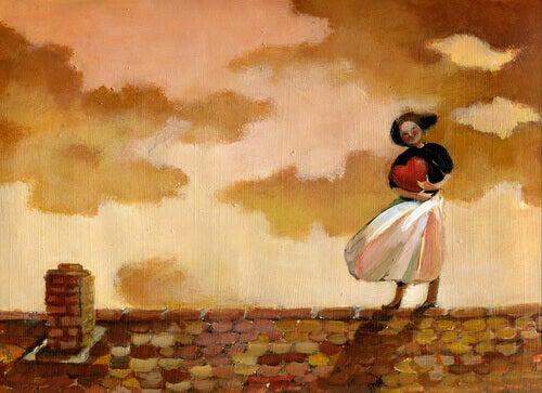 Mujer-abrazando-un-corazon-en-el-tejado
