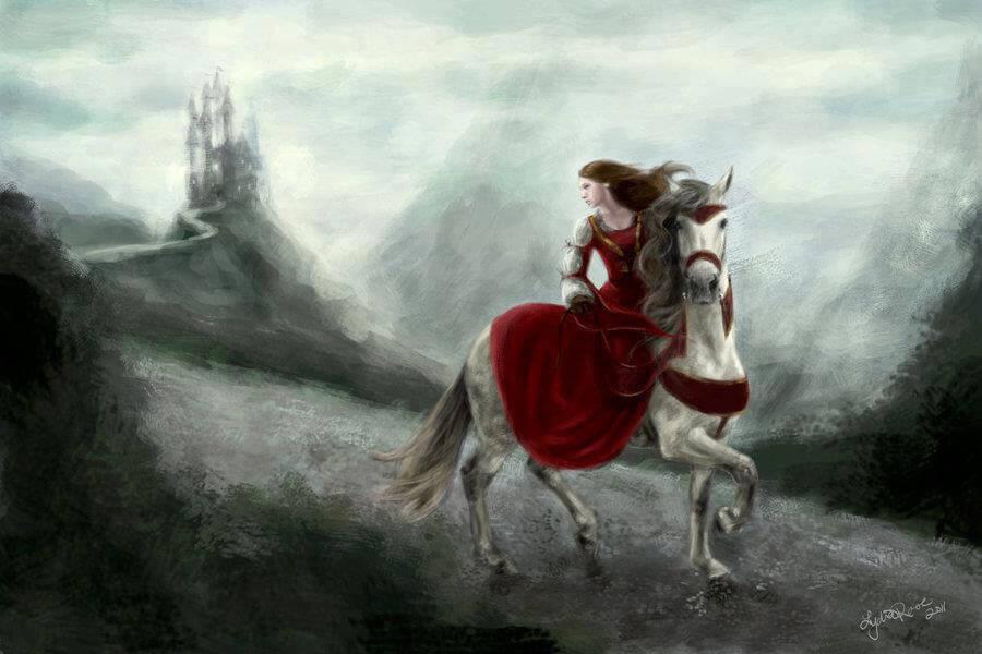 Mujer-montada-en-caballo-huyendo-de-la-tormenta