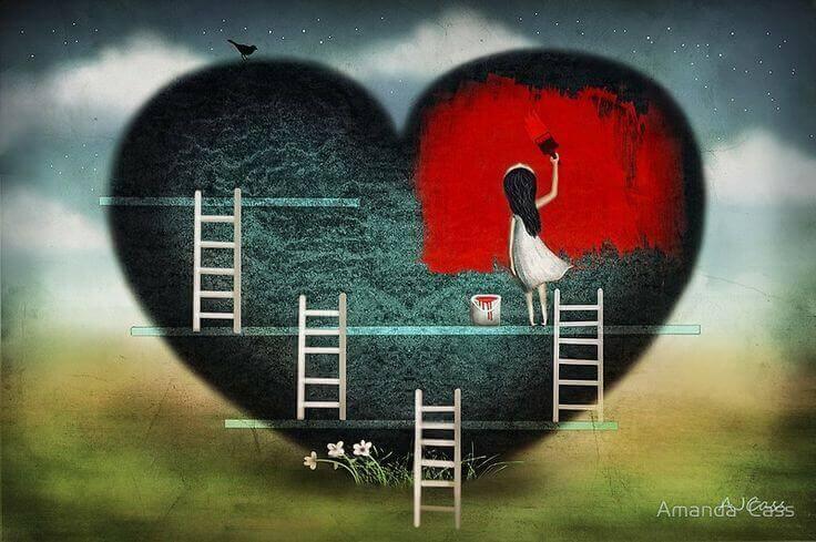 Niña-pintando-corazón-rojo