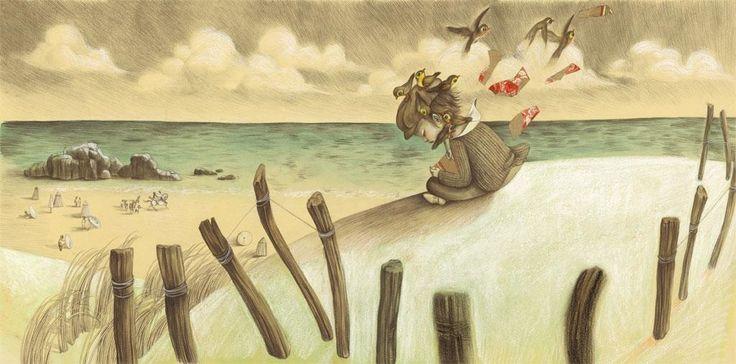 Niña-triste-en-la-playa