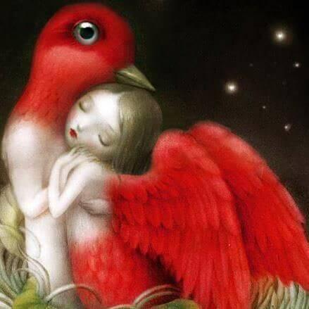 Oiseau-embrassant-une-femme