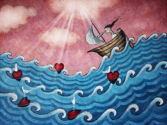 fille dans un bateau sur une vague