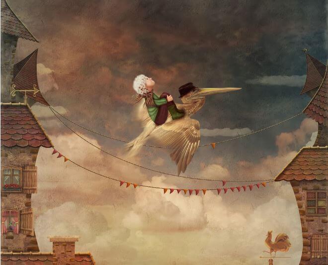 fille volant sur un oiseau
