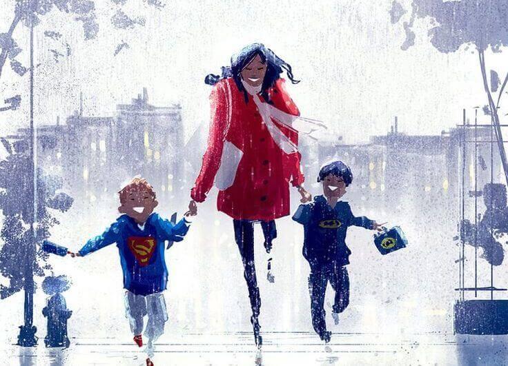 madre-corriendo-con-sus-dos-hijos