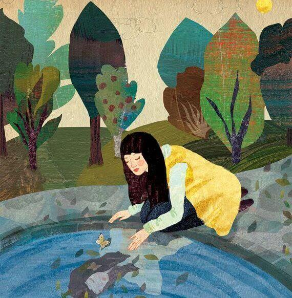 mujer-mirando-su-reflejo-en-el-agua
