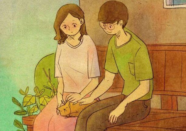 Couple-caressant-son-chat