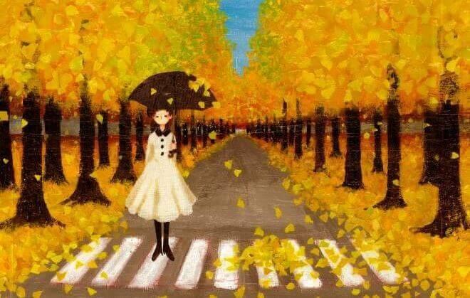 Fille-passage-pieton-arbres-jaunes