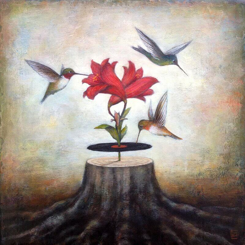 Pájaros-volando-alrededor-de-una-flor