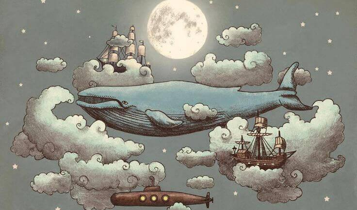 baleine qui avance dans la nuit