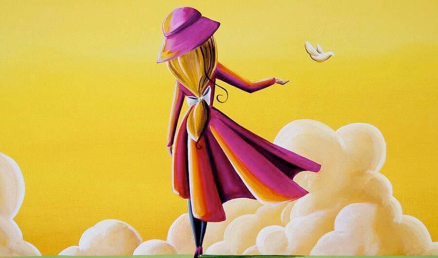 chica-con-abrigo-rojo-simbolizando-el-dejar-ir-una-paloma