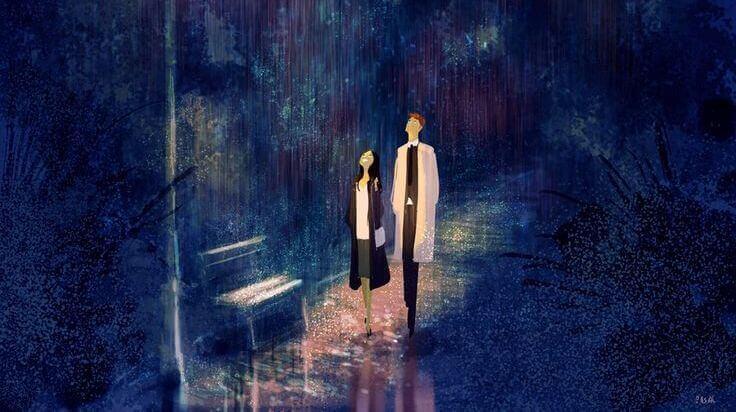 couple qui marche dans la nuit