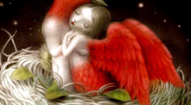femme avec des ailes rouges