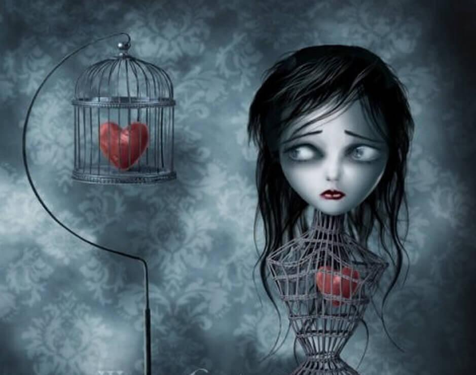 femme coeur en cage