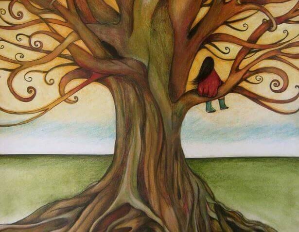 femme dans un arbre