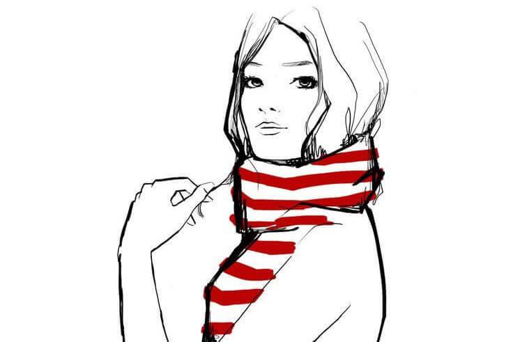 femme echarpe rouge et blanche