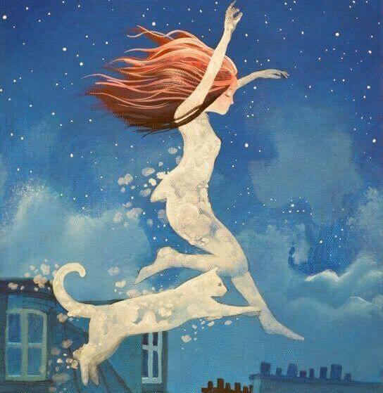 femme et chat dans la nuit