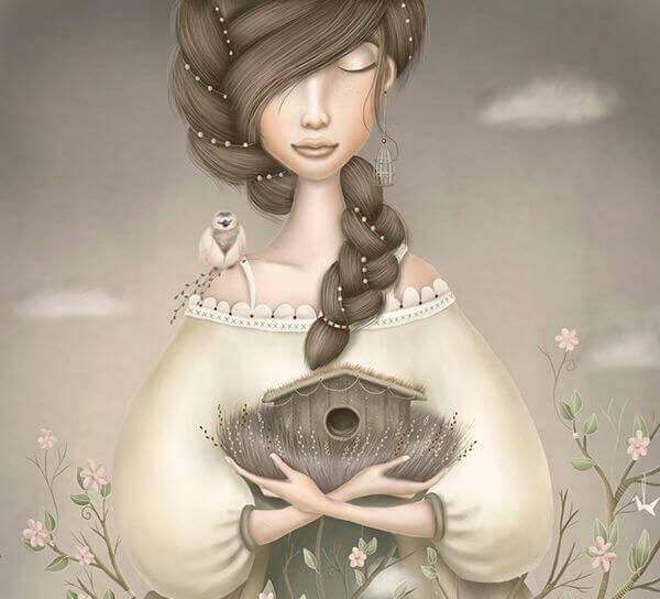 femme oiseau sur l'epaule
