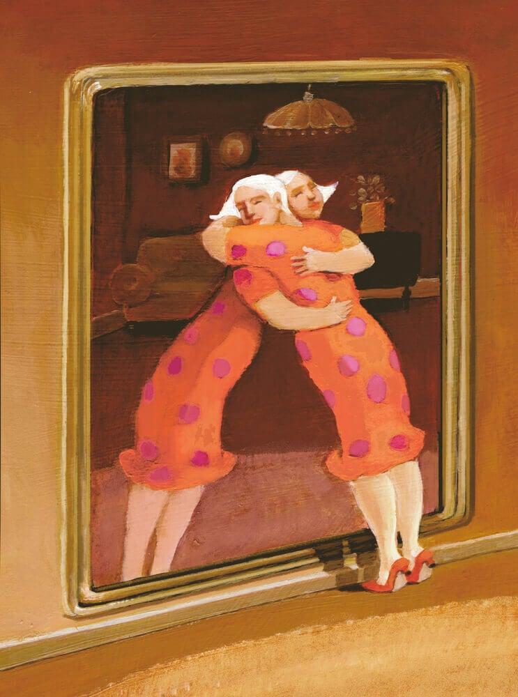 femme qui embrasse son image
