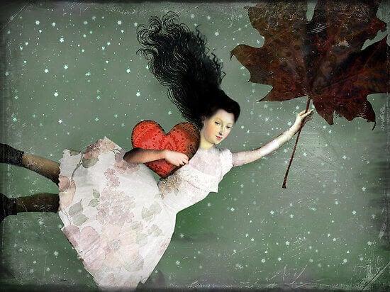 fille avec un coeur volant