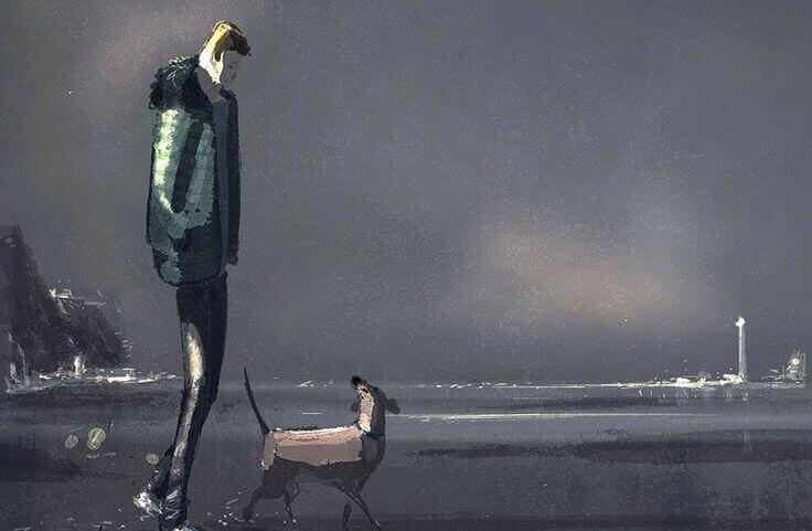 homme promenant son chien sur la plage
