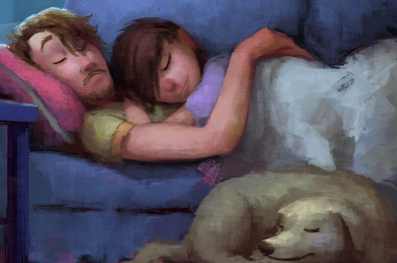 Coupe-sur-un-canape-avec-un-chien
