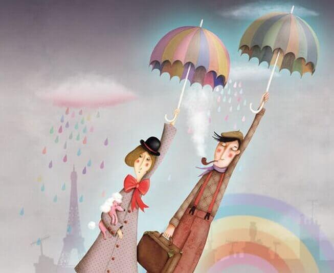 Couple-volant-avec-parapluie-cherchant-la-lumiere-du-soleil