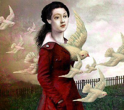 Femme-avec-colombes-pensant-aux-autres