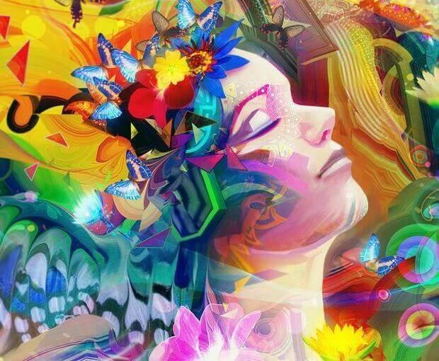 Femme-entouree-de-couleurs-plaisir-de-prendre-soin-de-soi