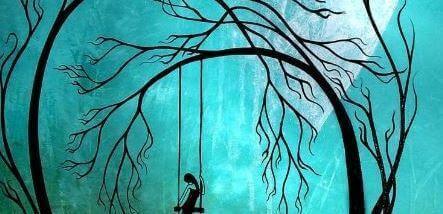 Femme-triste-sur-une-balancoire-le-soir
