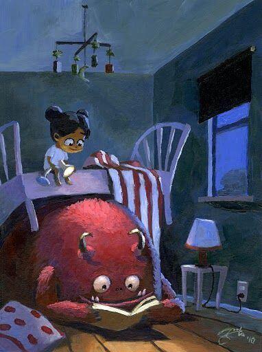 Fille-dans-un-lit-en-face-d'un-monstre