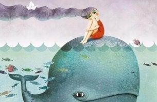 Fille-et-baleine-profitant-de-la-vie