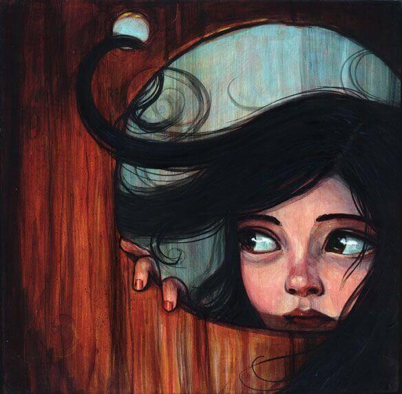 Fille-regardant-par-le-trou-d'une-porte