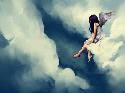 Fille-triste--dans-les-nuages