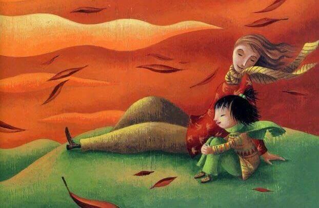 Pere-et-fils-sur-une-coline-coucher-du-soleil