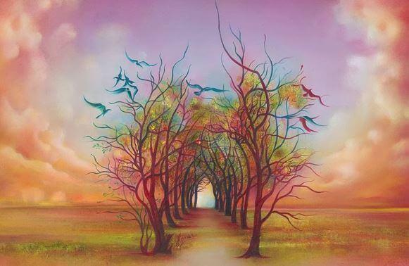 chemin d'arbres fantaisies