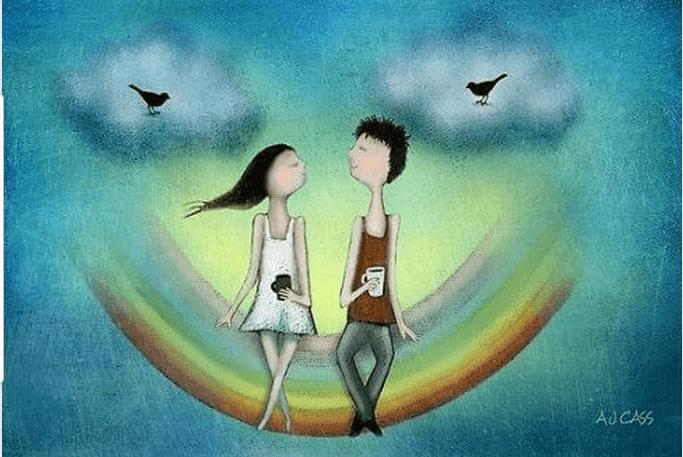 couple heureux sur un arc en ciel