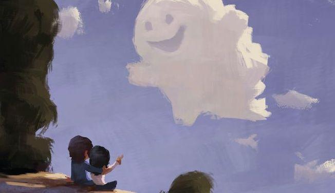 enfants face a un nuage souriant